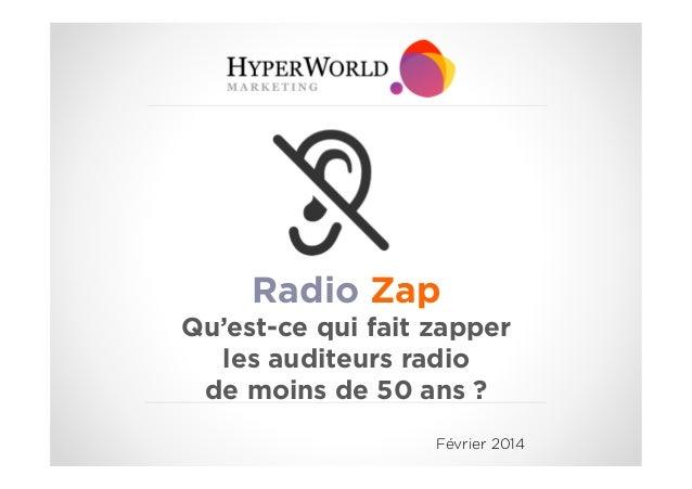 Radio Zap Qu'est-ce qui fait zapper les auditeurs radio de moins de 50 ans ? Février 2014
