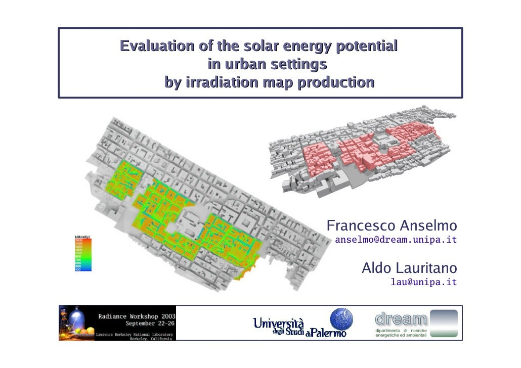 Evaluation of the solar energy potential              in urban settings       by irradiation map production               ...