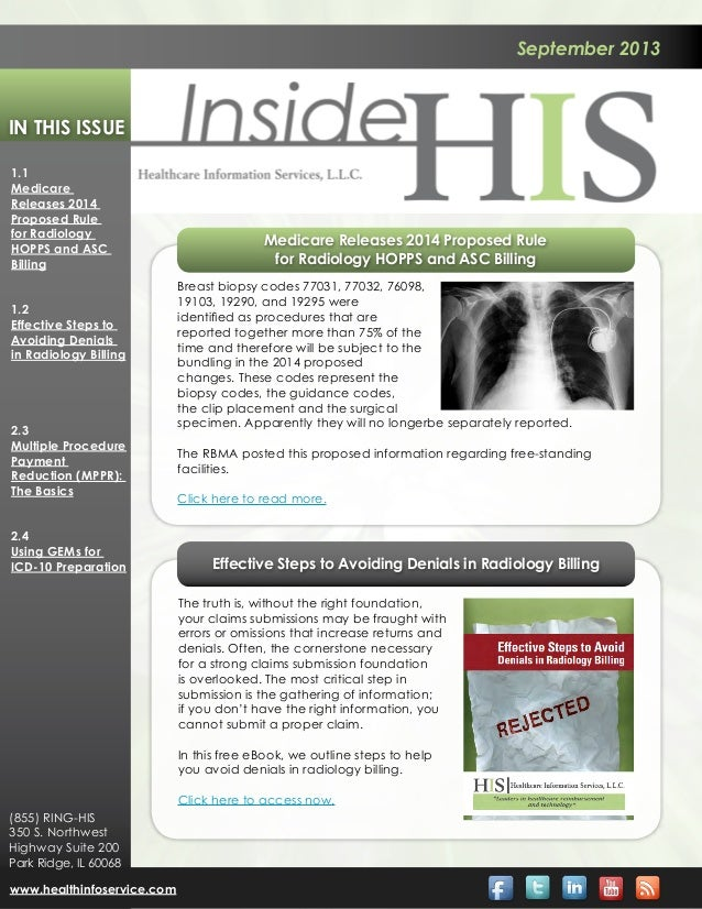 September 2013 In This Issue 1.1 Medicare Releases 2014 Proposed Rule for Radiology HOPPS and ASC Billing 1.2 Effective St...