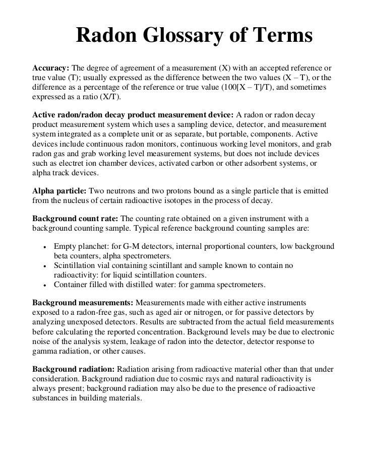 Radon glossary