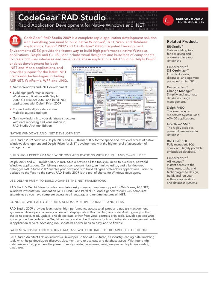 Rapid Application Development Software  | CodeGear RAD Studio From Embarcadero Technologies