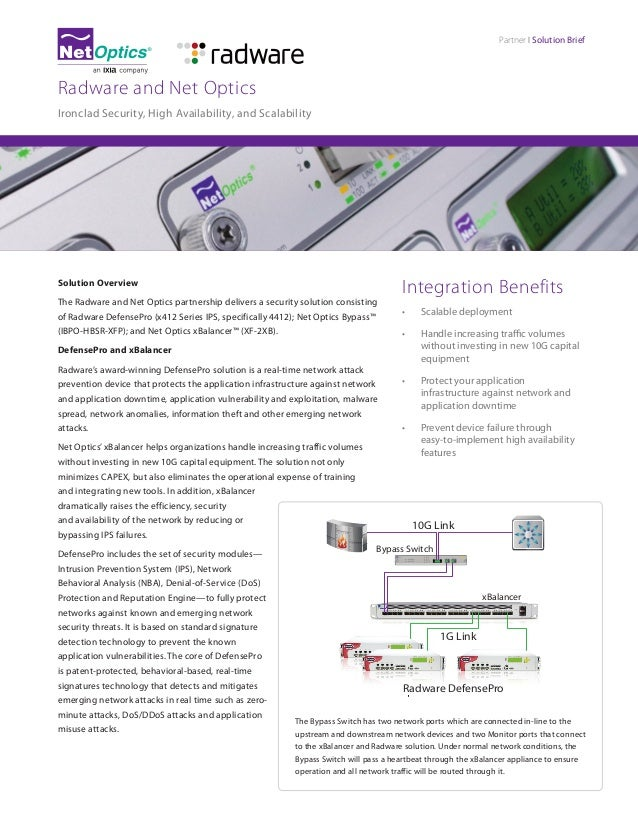 Partner I Solution Brief  Radware and Net Optics Ironclad Security, High Availability, and Scalability  Solution Overview ...