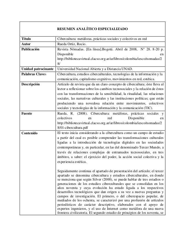 RESUMEN ANALÍTICO ESPECIALIZADO Título Autor Publicación  Unidad patrocinante Palabras Claves Descripción  Fuente  Conteni...