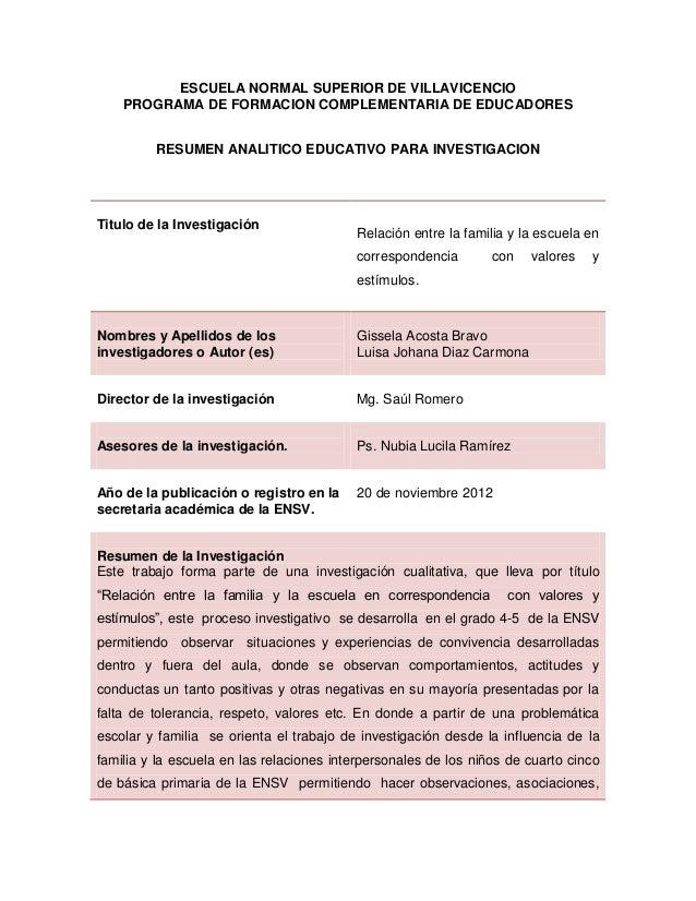 ESCUELA NORMAL SUPERIOR DE VILLAVICENCIO    PROGRAMA DE FORMACION COMPLEMENTARIA DE EDUCADORES         RESUMEN ANALITICO E...