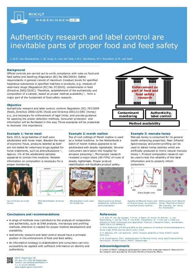 Authenticity research and label control are inevitable parts of proper food and feed safety L.W.D. van Raamsdonk, J. de Jo...
