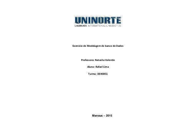 Exercício de Modelagem de banco de Dados Professora: Natasha Valentin Aluno: Rafael Lima Turma: DSN04S1 Manaus – 2015