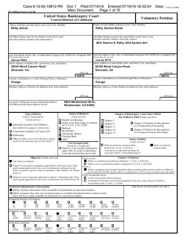 Case 8:10-bk-19812-RK                                  Doc 1 Filed 07/16/10 Entered 07/16/10 18:32:24                     ...