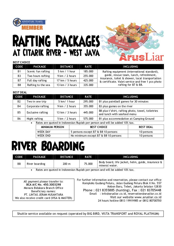Rafting price list all packages v11.0