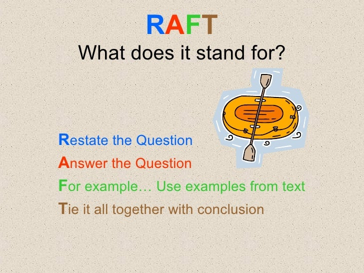 raft writing essay Raft writing template role audience format writing piece topic readwritethink  title: raftwriting created date: 12/31/2011 8:47:00 pm.