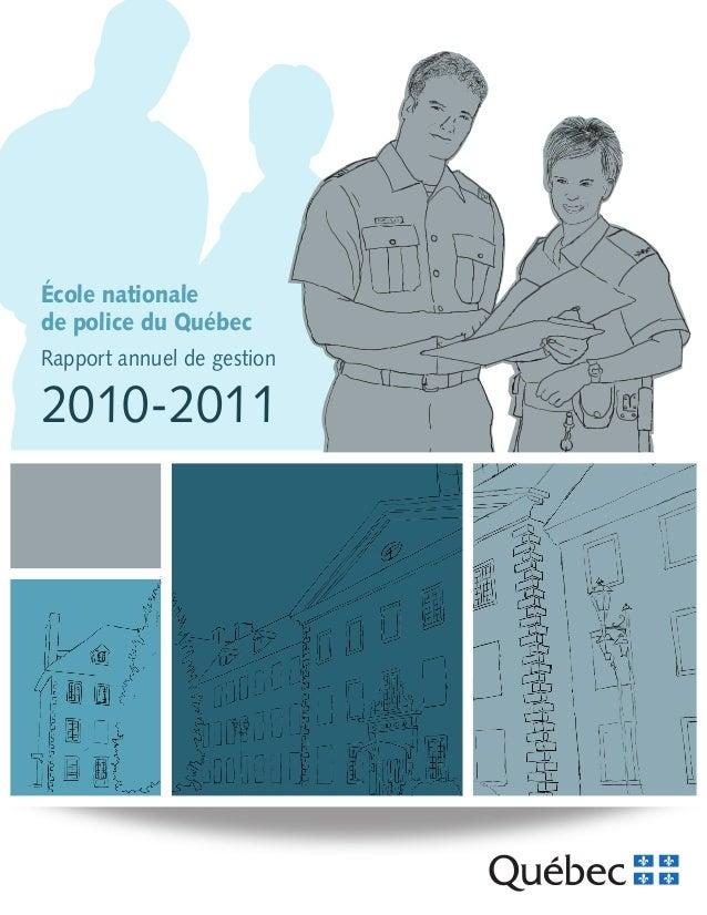 École nationale de police du Québec Rapport annuel de gestion  2010-2011