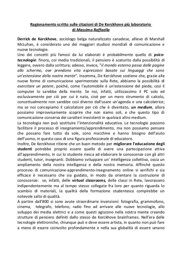 Ragionamento scritto sulle citazioni di De Kerckhove più laboratorio di Massimo Raffaella Derrick de Kerckhove, sociologo ...