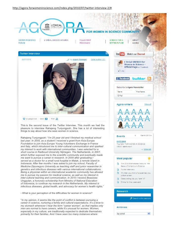 http://agora.forwomeninscience.com/index.php/2010/07/twitter-interview-2/#           This is the second issue of the Twitt...