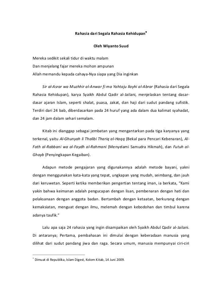 Rahasia dari Segala Rahasia Kehidupan                                           Oleh Wiyanto SuudMereka sedikit sekali ti...