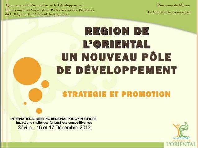 Agence pour la Promotion et le Développement Economique et Social de la Préfecture et des Provinces de la Région de l'Orie...