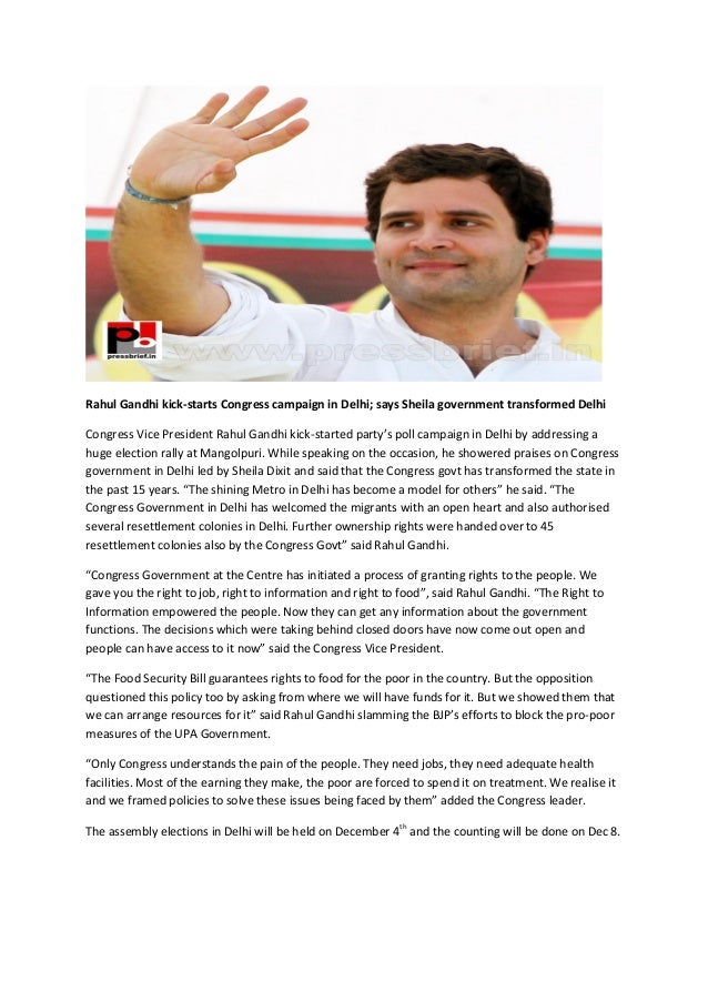 Rahul Gandhi kick-starts Congress campaign in Delhi; says Sheila government transformed Delhi Congress Vice President Rahu...