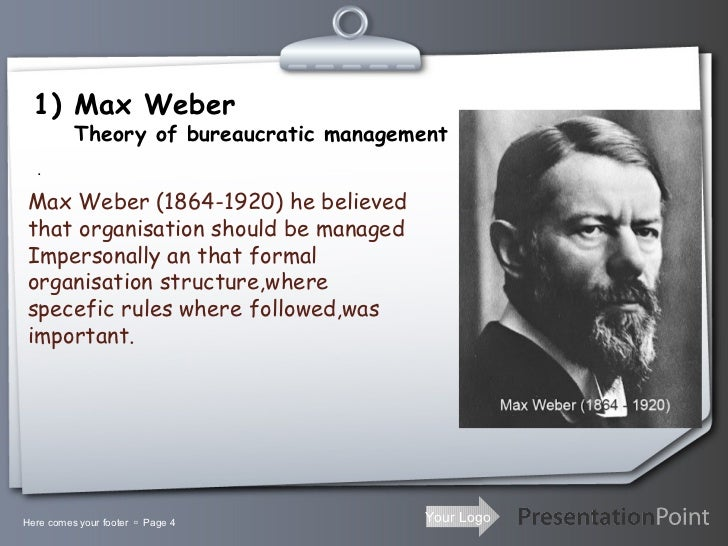 weber s principles of bureaucracy 10 theory of bureaucracy by max weber and features  bureaucracy should have :- i division of work ii 13 conclusion max weber's theory about bureaucracy is built and advocated a system based on standardized procedures and a clear chain of command.