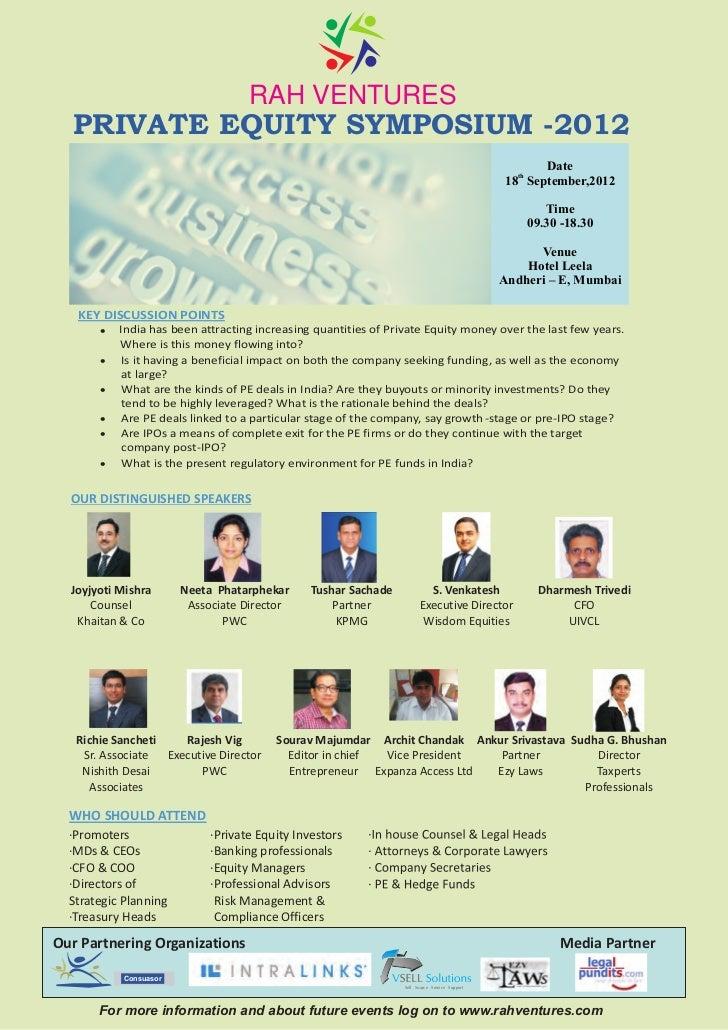 RAH VENTURES  PRIVATE EQUITY SYMPOSIUM -2012                                                                              ...