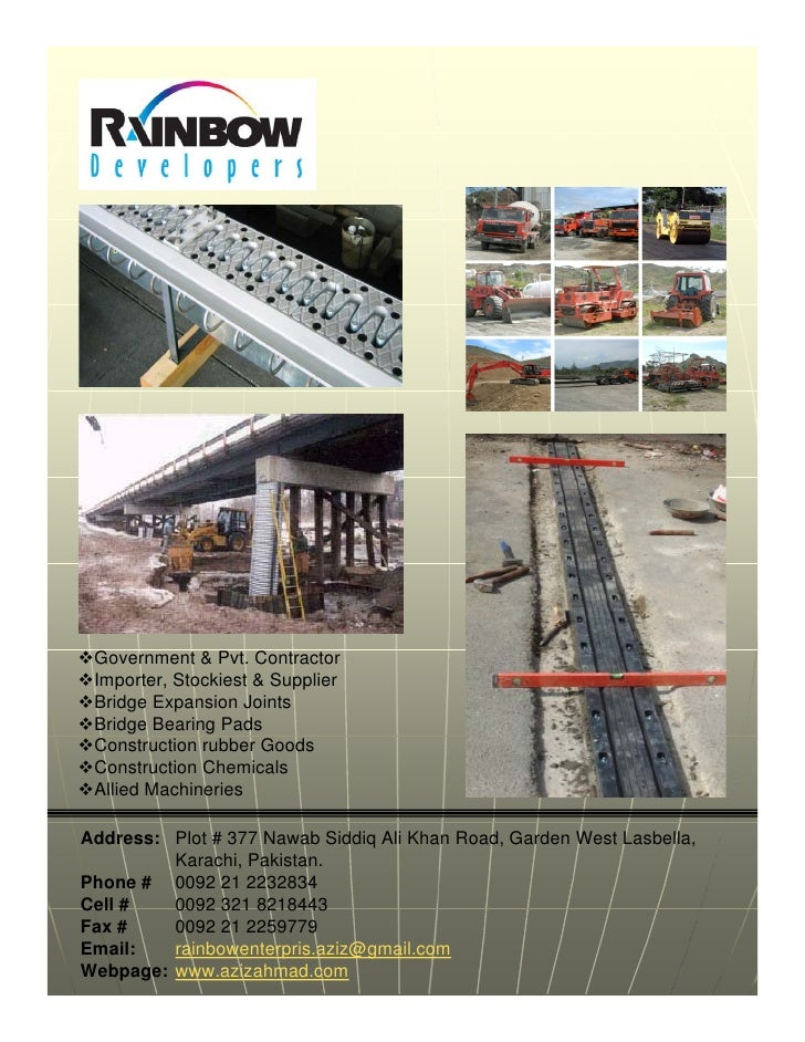 Government & Pvt. Contractor  Importer, Stockiest & Supplier  Bridge Expansion Joints  Bridge Bearing Pads  Construction r...