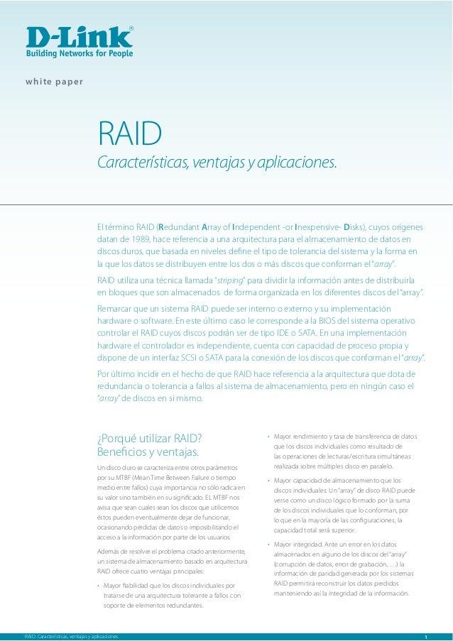 Características y aplicaciones de RAID