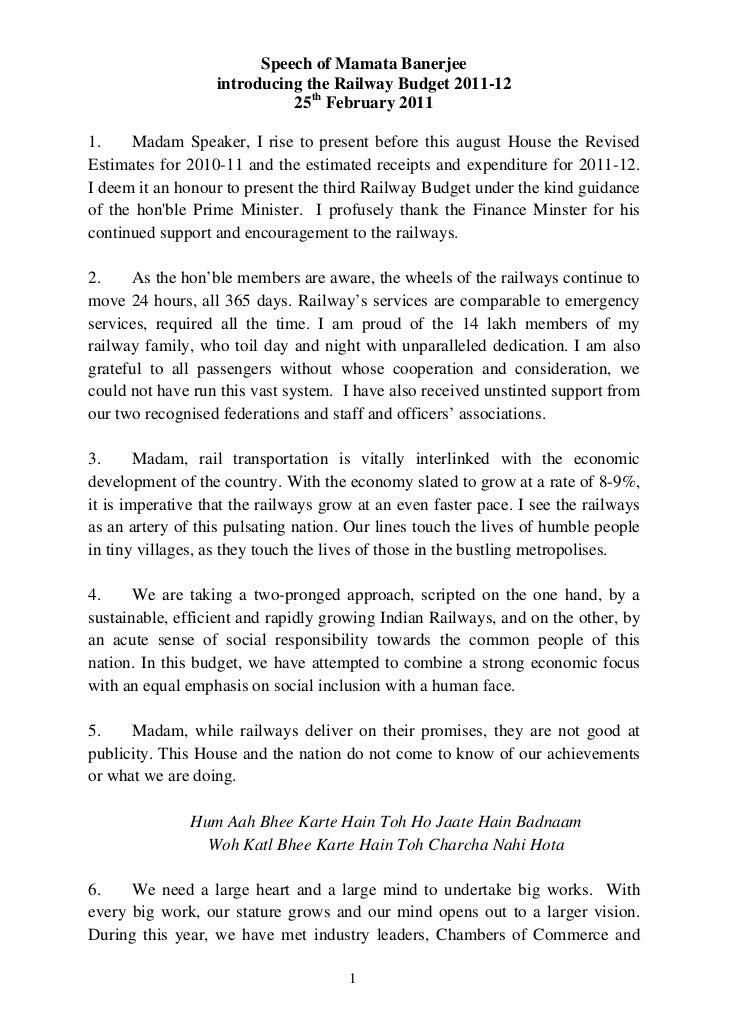 Speech of Mamata Banerjee                   introducing the Railway Budget 2011-12                             25th Februa...