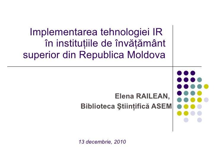 Implementarea tehnologiei IR