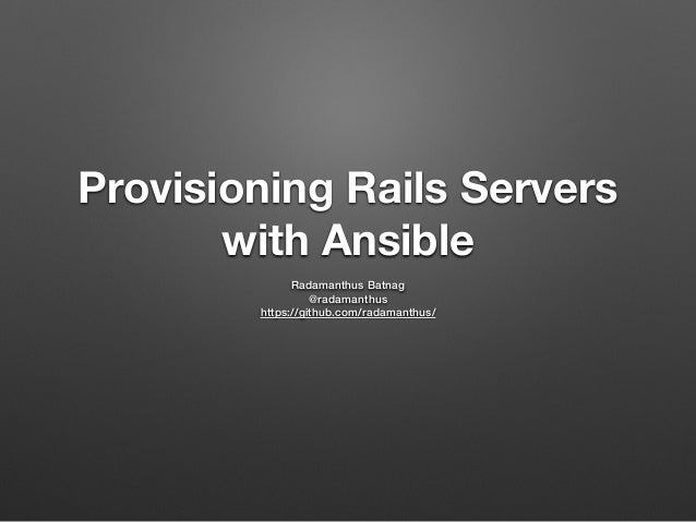 Provisioning Rails Servers with Ansible