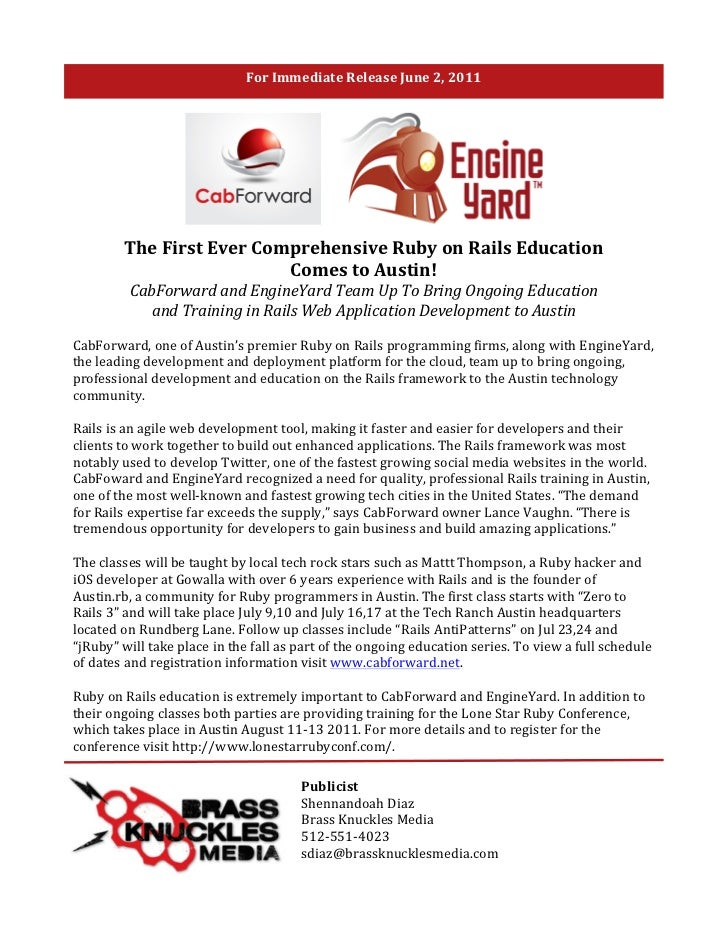 For	  Immediate	  Release	  June	  2,	  2011	  	                      The	  First	  Ever	  Comprehensive	  Ruby	  on	  Rai...