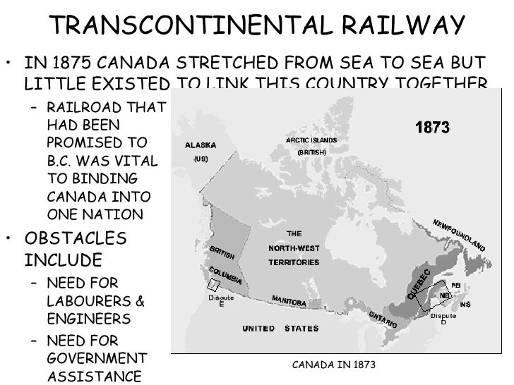 TRANSCONTINENTAL RAILWAY <ul><li>IN 1875 CANADA STRETCHED FROM SEA TO SEA BUT LITTLE EXISTED TO LINK THIS COUNTRY TOGETHER...