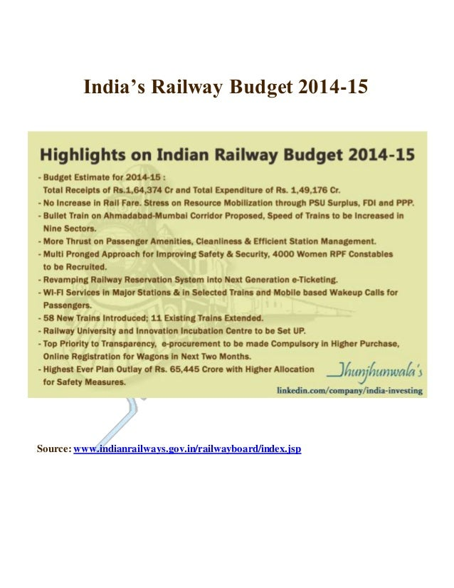Indian Government Budget 2014-15 India's Railway Budget 2014-15