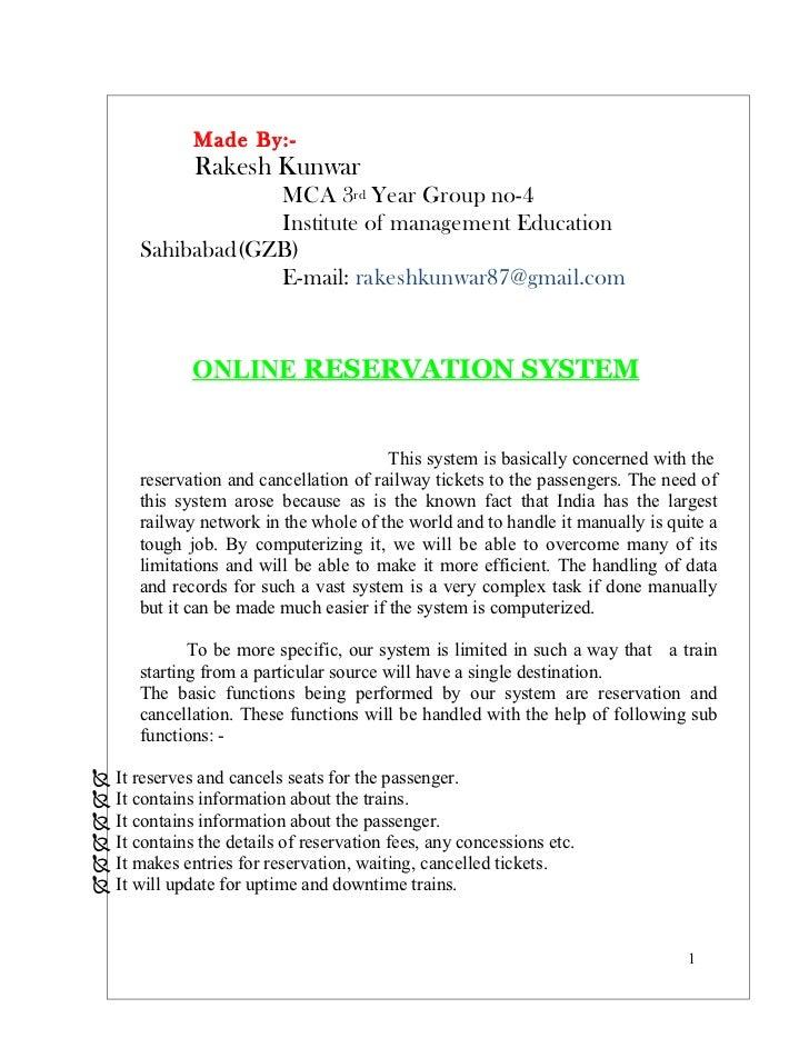 Railway Reservation Documentation