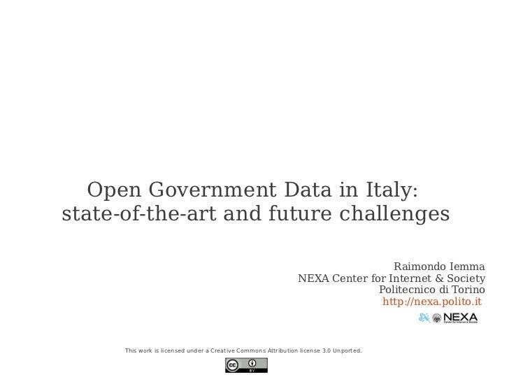 Raimondo Iemma - Open Government Data in Italy - may 2012