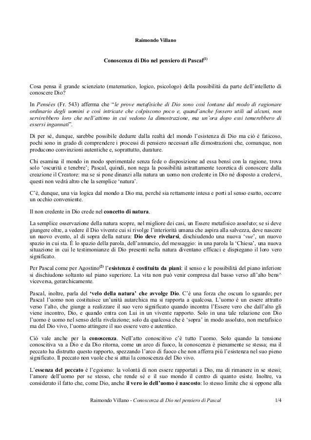 Raimondo Villano - Conoscenza di Dio nel pensiero di Pascal 1/4Raimondo VillanoConoscenza di Dio nel pensiero di Pascal(1)...
