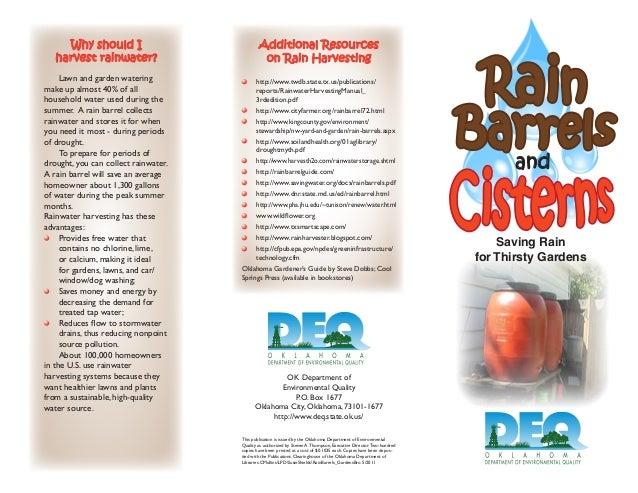 Saving Rain for Thirsty Gardens: Rain Barrels and Cisterns - Oklahoma