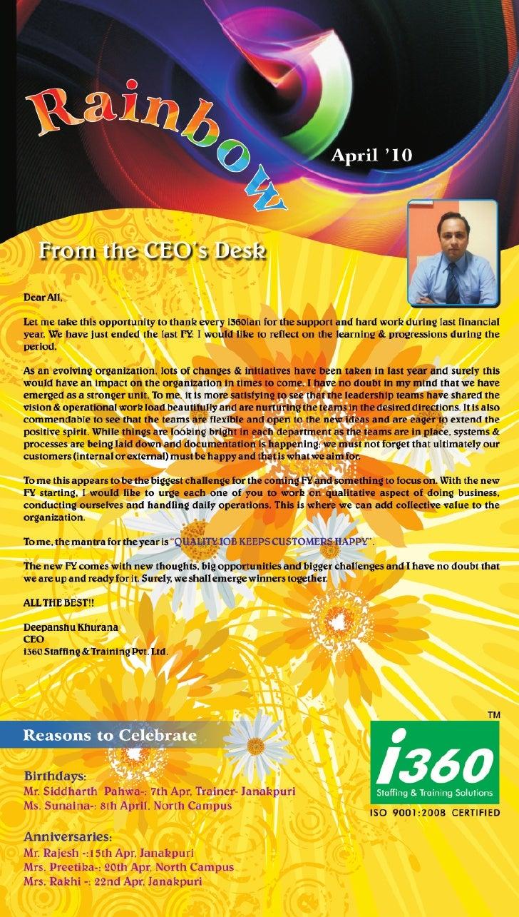 I360 Franchise Newsletter April' 2010
