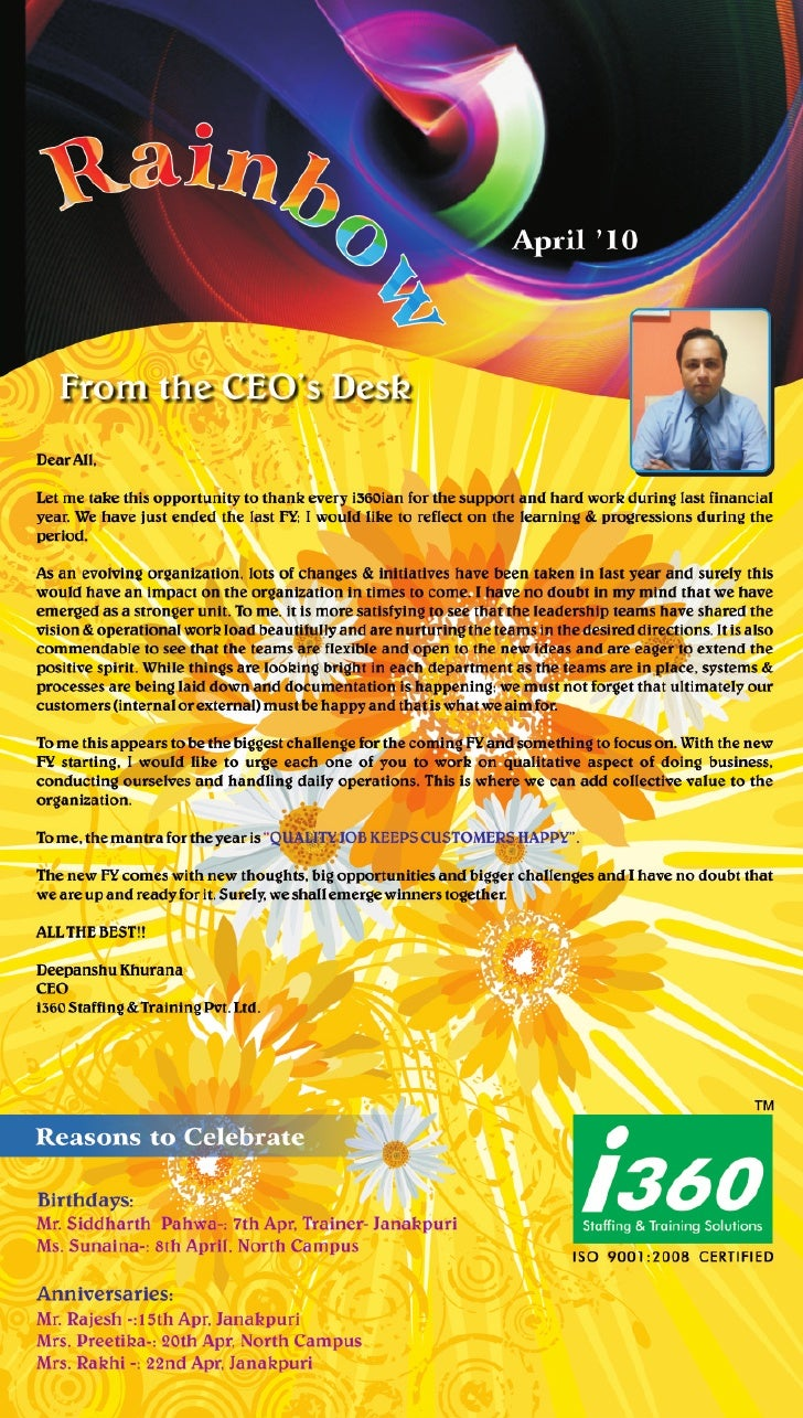 I360 Franchise Newsletter April' 2010