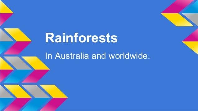 Rainforests In Australia and worldwide.