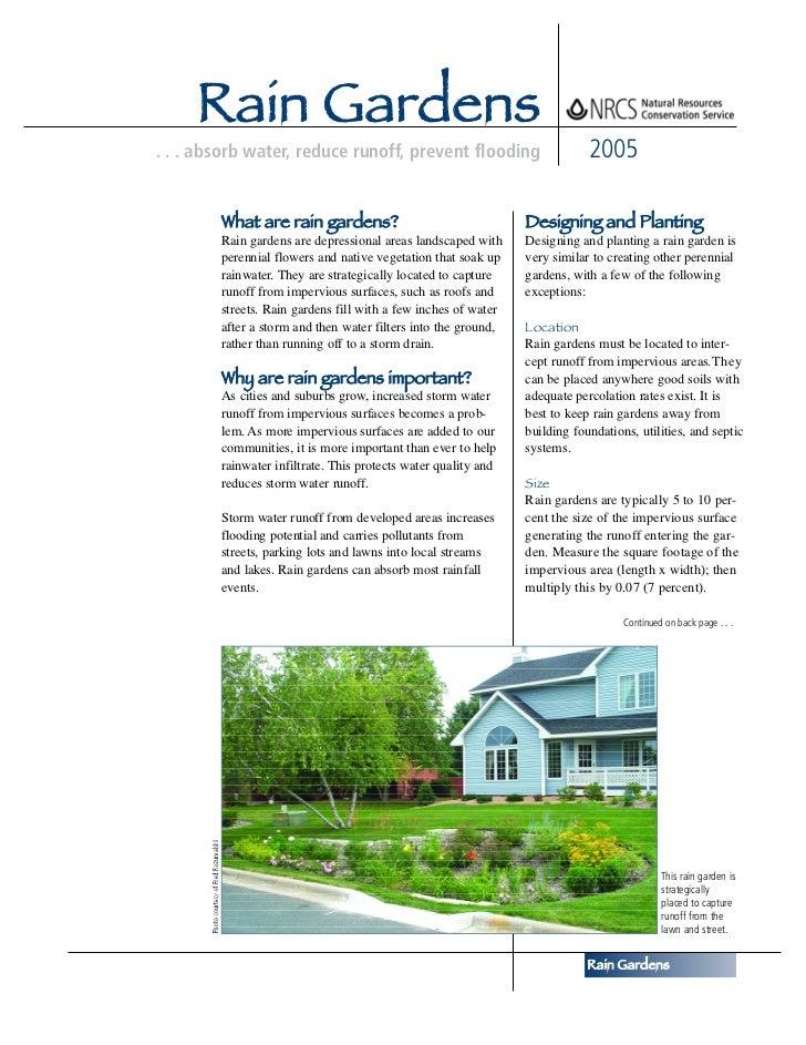 Rain Gardens. . . absorb water, reduce runoff, prevent flooding                         2005        What are rain gardens?...