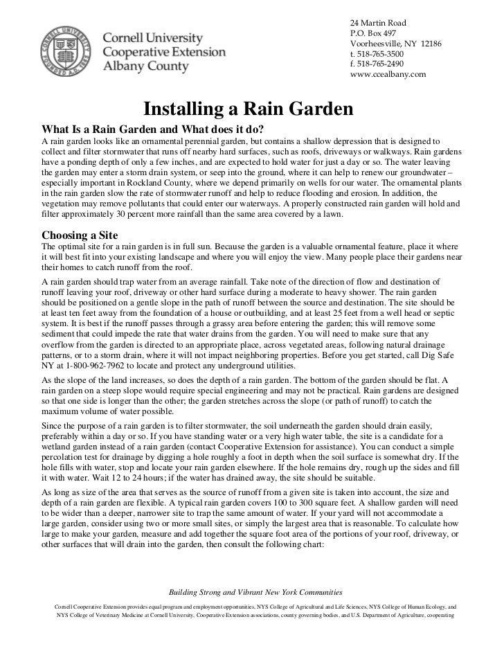 Cornell University: Installing a Rain Garden