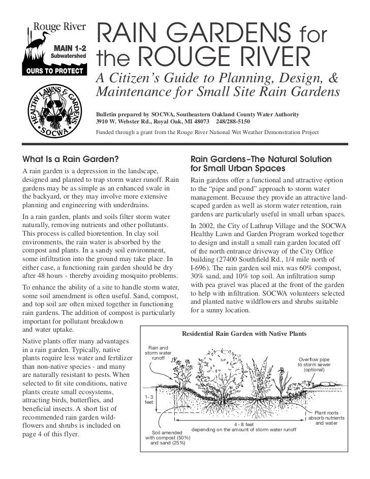 RAIN GARDENS for                          the ROUGE RIVER                          A Citizen's Guide to Planning, Design, ...