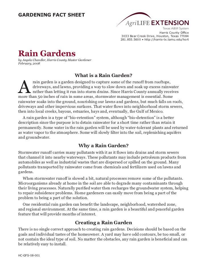 TX: Rain Gardens Fact Sheet