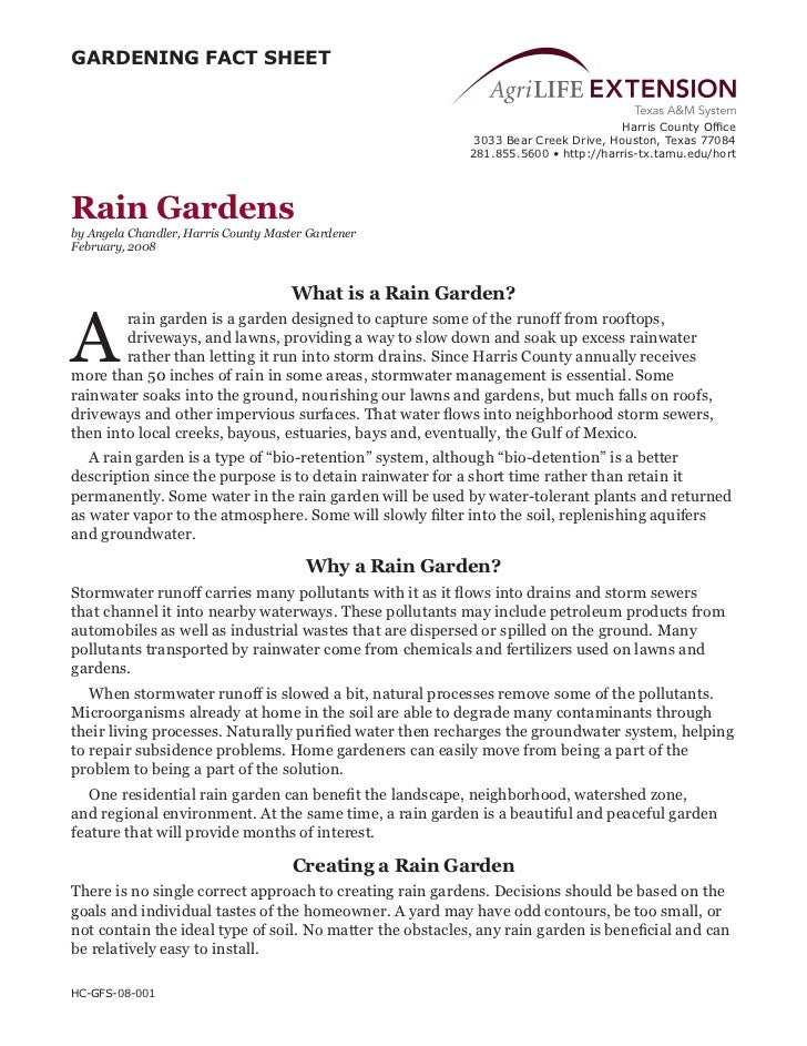 TX: Rain Gardens Fact Sheet