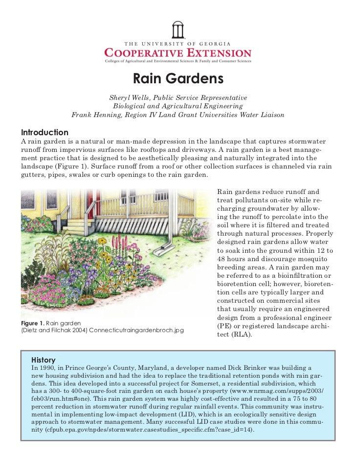 Rain Gardens                           Sheryl Wells, Public Service Representative                            Biological a...