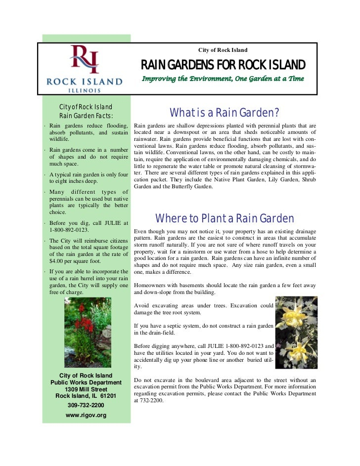 City of Rock Island                                          RAIN GARDENS FOR ROCK ISLAND                                 ...