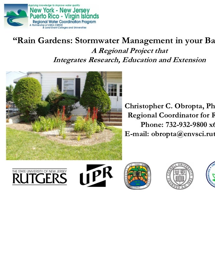 """Rain Gardens: Stormwater Management in your Backyard""                     A Regional Project that         Integrates Rese..."