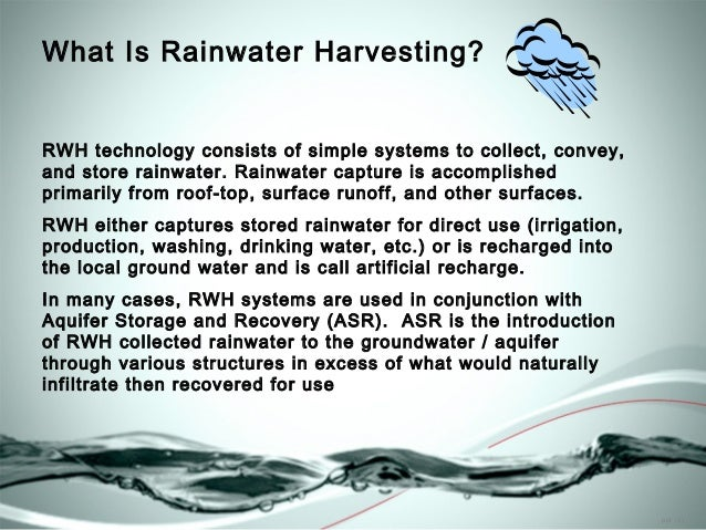 rainwater harvesting essay Rainwater harvesting means collection of rainwater and to store it in different containers applying proper means to keep the water fit for any use.