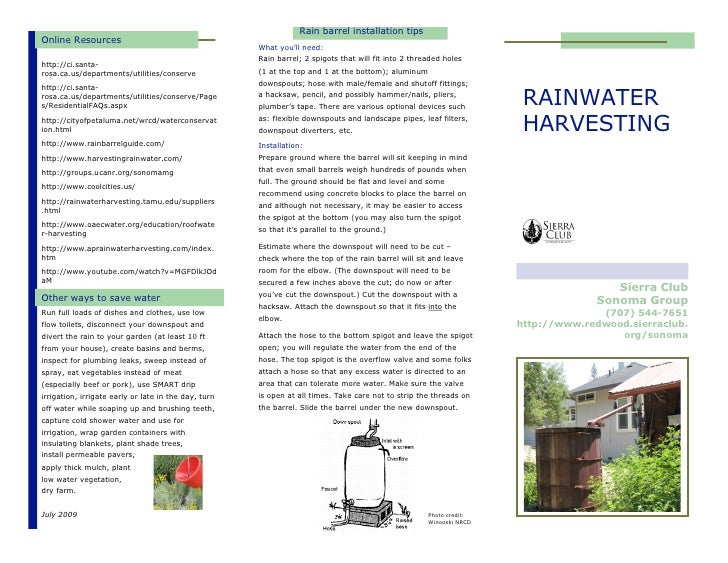 Rain barrel installation tipsOnline Resources                                                      What you'll need:      ...