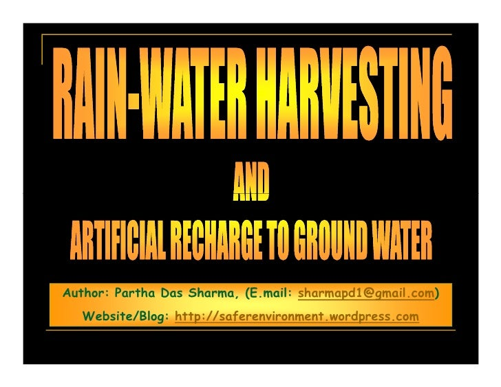 Rain Water Harvesting And Artificial Recharge Of Groundwater