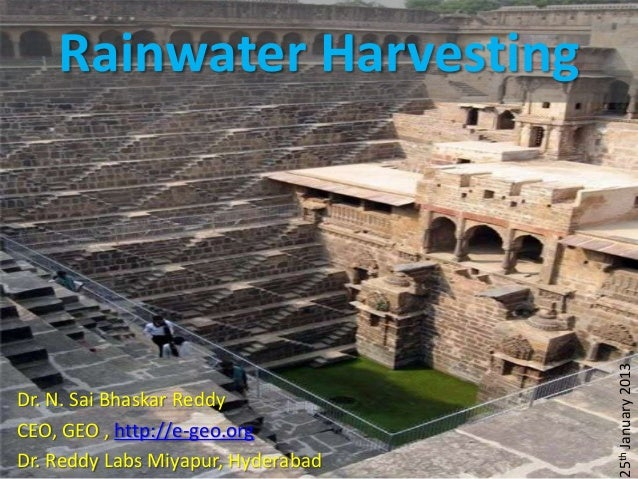 Rainwater harvesting Dr Reddy labs