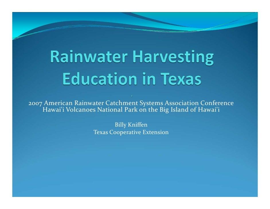 2007AmericanRainwaterCatchmentSystemsAssociationConference    HawaiiVolcanoesNationalParkontheBigIslandofHa...