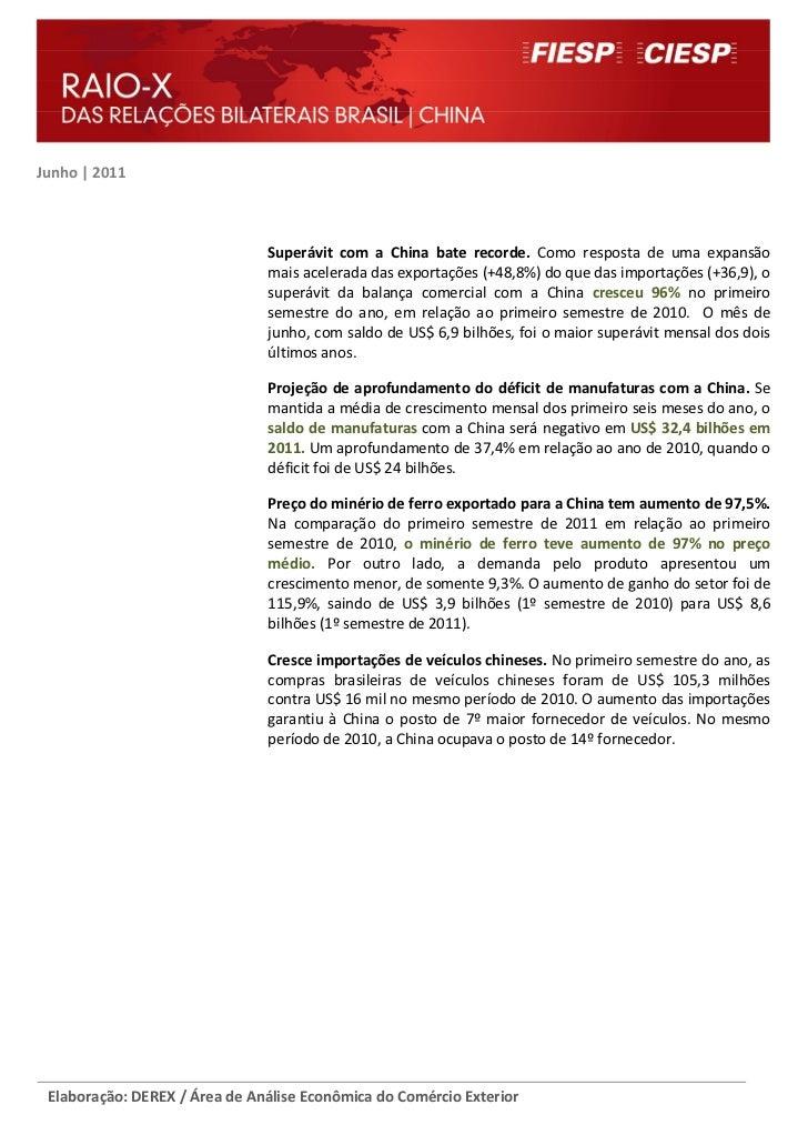 Raio-X das Relações Bilaterais Brasil - China ( Junho 2011)